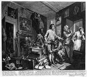 "Inheritance - From William Hogarth's A Rake's Progress. ""The Young Heir Takes Possession Of The Miser's Effects""."