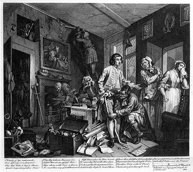 William Hogarth - A Rake's Progress - Plate 1 - The Young Heir Takes Possession Of The Miser's Effects