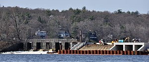 Mystic Dam - The historic dam alongside modernizing construction in 2010