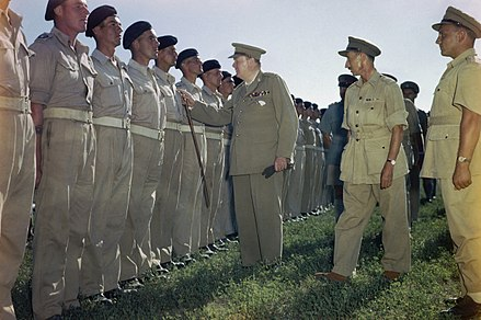 Churchill inspecting the 4th Queen's Own Hussars, of which he was the Colonel of the Regiment, in Italy during 1944 Winston Churchill inspecting men of the 4th Queen's Own Hussars at Loreto aerodrome, Italy, 25 August 1944. TR2275.jpg