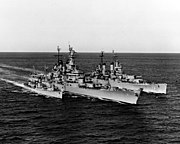 Wisconsin (BB-64), USS Saint Paul (CA-73) and USS Buck (DD-761) underway off Korea on 22 February 1952 (80-G-440021)