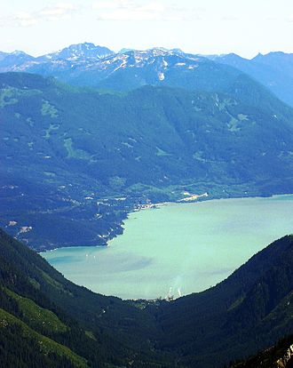 Howe Sound - Howe Sound from Mount Roderick. Woodfibre on near (west) shore in foreground, Britannia Beach on far shore