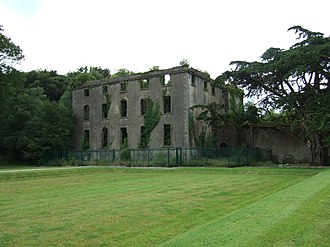 Destruction of Irish country houses (1919–1923) - The ruins of Woodstock House in County Kilkenny, which was attacked on 2 July 1922 during the Civil War.