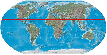 World map showing the Tropic of Cancer