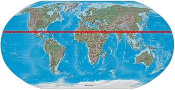 Παγκόσμιος χάρτης με σημειωμένο τον Τροπικό του Καρκίνου