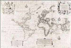 Ethnobiology - 16th-century English map of the world showing extent of western geographic knowledge in 1599