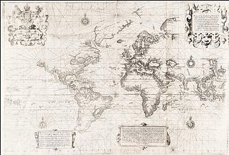 "Edward Wright (mathematician) - Wright's ""Chart of the World on Mercator's Projection"" (ca. 1599), otherwise known as the Wright–Molyneux map"