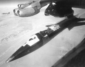 Assisted take-off - An X-15 pictured just after release from a B-52 carrier aircraft