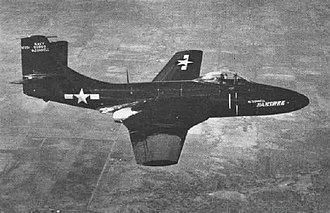 McDonnell F2H Banshee - The XF2D-1 (later XF2H-1) in 1947. Note large vertical tailplane fairing and pronounced horizontal stabilizer dihedral.