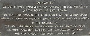 Yad Kennedy - Dedication plaque at Yad Kennedy, Jerusalem