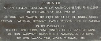 Yad Kennedy - Dedication plaque at Yad Kennedy, Jerusalem