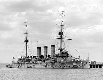 Japanese cruiser Yakumo - Yakumo at anchor in Australia during her 1928 cadet cruise