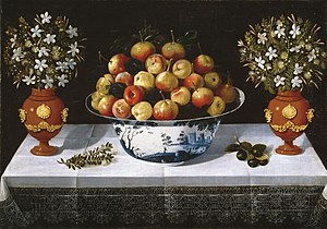 Tomás Yepes - Fruit from Delft and Two Vases by Tomás Yepes, Museo del Prado, 1642