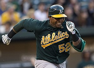 Yoenis Céspedes - Céspedes playing for the Oakland Athletics in 2012