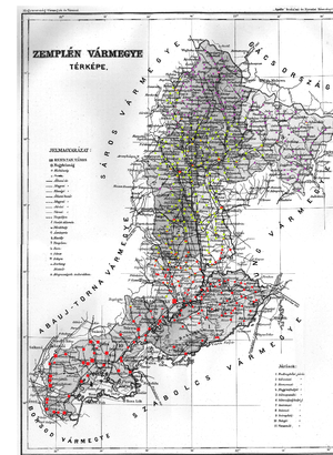 Zemplén County - Ethnic map of the county with data of the 1910 census (see the key in the description).