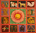 Zodiac symbols painted Relief on the terrace of a Gopuram at Kanipakam.jpg