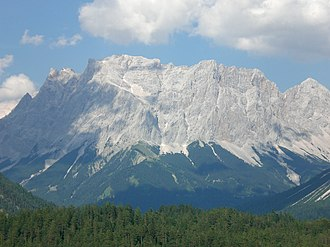 Bavarian Alps - Zugspitze Massif with Zugspitze peak (left), the highest mountain in Germany (view from Fern Pass in the southwest)