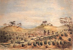 History of South Australia - Aboriginal Family Travelling by W.A. Cawthorne.