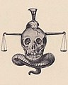 """Sons of Aesculapius"" scales, snakes and skull art detail, Virginia Tech Bugle 1899 (page 174 crop).jpg"