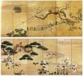 'Birds and Flowers, pair of six-panel screens by Kano Koi, 17th centory Japan, Honolulu Academy of Arts.jpg