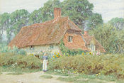 'By the cottage gate', watercolor painting by Helen Allingham.jpg