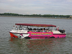 """Duck tour - A Singapore """"tour-duck"""" in water"""