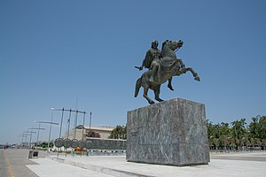 Thessaloniki - Statue of Alexander the Great at the city's waterfront, with sarissas in the background