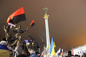 1 December 2013 Euromaidan riots - Flags of Ukraine and the Ukrainian nationalist movement flown on 29 November in Maidan Nezalezhnosti (Independence Square) before the attack