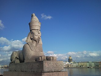 Universitetskaya Embankment - One of the two ancient sphinxes on the embankment