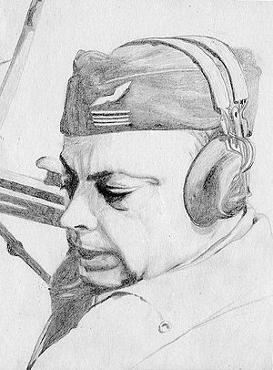 Antoine de Saint-Exupery. Scanned drawing.