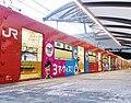 ユニバーサルシティ駅に停車する201系 妖怪ウォッチラッピング編成.jpg