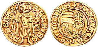 Matthias Corvinus - Matthias's golden florin depicting King Saint Ladislaus and Matthias's coat-of-arms