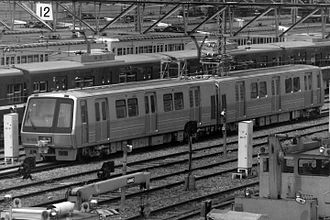 Toei 12-000 series - The prototype two-car set at Magome Depot in May 1989