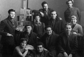 Students of the National Academy of Arts (circa 1952-53). People aged 20-25 years have been the most numerous group in the city since the process of Bulgarian urbanisation 13.modelat bay Georgi i studenti ot akademiata.jpg