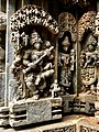 13th century Keshava Hindu temple relief with aerophone, Somanathpur India.jpg