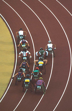 Wheelchair racing - View from above of wheelchair racing competition at the 2000 Summer  Paralympics