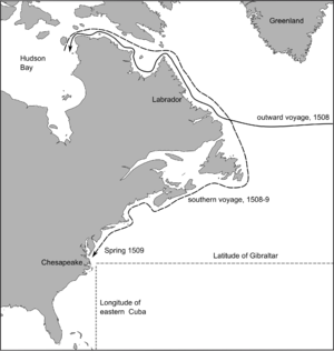 Sebastian Cabot (explorer) - Presumed course of Sebastian Cabot's voyage of 1508-9, based on Peter Martyr's 1516 account and subsequent references to it.