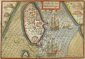 Island of Mozambique - A map engraved by Pieter van den Keere in 1598