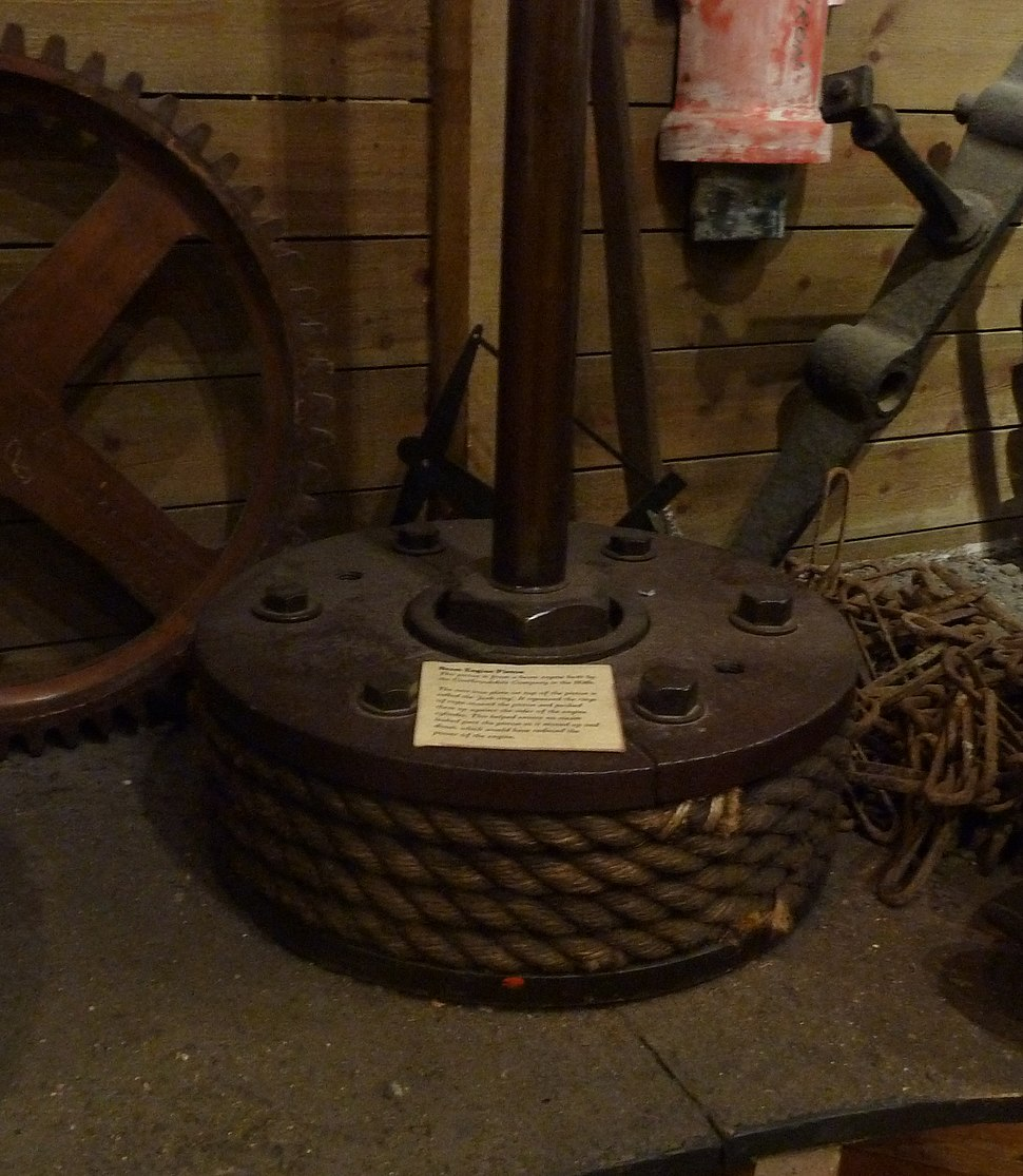 1830s beam engine piston with rope seal, Coalbrookdale Museum of Iron