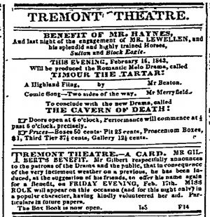 Tremont Theatre, Boston - Image: 1843 Tremont Theatre Feb 16 Daily Atlas Boston