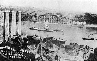 Royal Albert Bridge - The first span and centre pier under construction in 1854, seen from Saltash