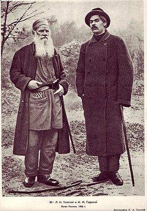 Maxim Gorky - Leo Tolstoy with Gorky in Yasnaya Polyana, 1900