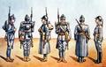 1916 - Armata Romaniei - Uniforme de de soldati si ofiteri din primul Razboi Mondial.png