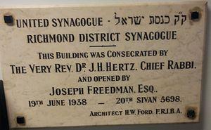 Richmond Synagogue - Image: 1938 Richmond synagogue plaque