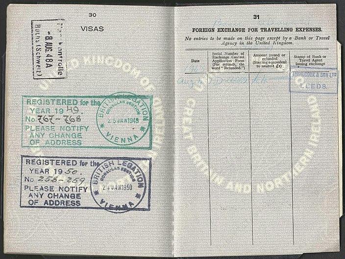 1948-03-05 British Passport Pages 30 and 31.jpg