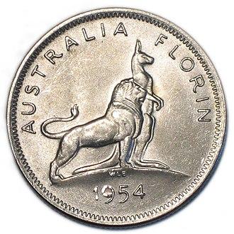 Florin (Australian coin) - Image: 1954 royal visit reverse