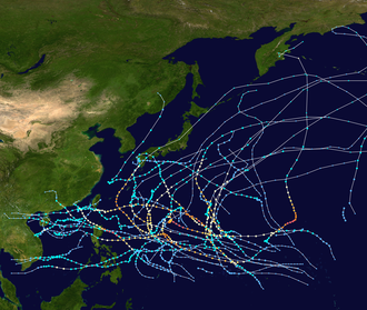 1968 Pacific typhoon season - Image: 1968 Pacific typhoon season summary map