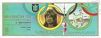 Ulrike Meyfarth - Meyfarth on a stamp of Ajman