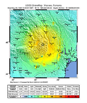 1990 Vrancea earthquakes - Intensity map of the main shock