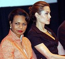 Condoleezza Rice e Angelina Jolie alla giornata mondiale dei profughi nel 2005
